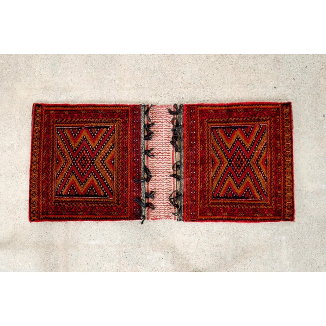"Antique Balochistan Wool Tribal Saddlebag Rug - 1'8"" x 3'8"" For Sale - Image 4 of 12"