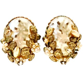 1940's Coro Gold Faux Baroque & Seed Pearl Organic Form Earrings For Sale