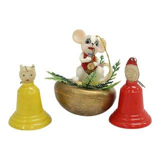 Vintage Mid-Century Christmas Ornaments, 3 Pcs For Sale