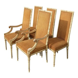 Set Four +1 Vintage French Provincial Orange Stripped Dining Chairs ~ Five Chairs For Sale