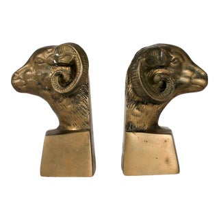 Brass Rams Head Bookends For Sale