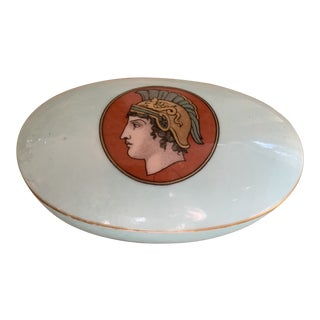 Miniature Oval Handpainted Pale Blue and Rust Neoclassical Style Porcelain Match Holder For Sale