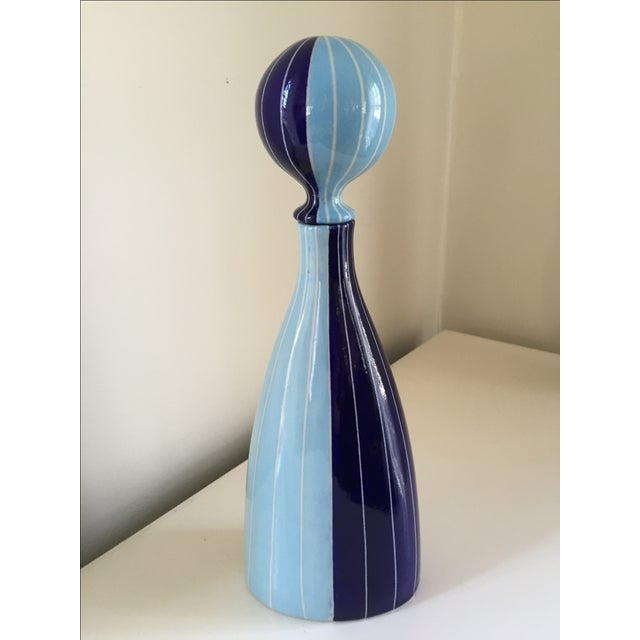 Mid Century modern inspired vase/decorative object for Jonathan Adler. In very good shape. Small scratch on dark blue...