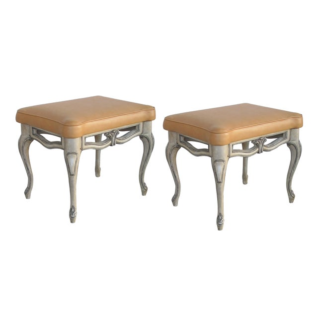 Gray A Gracefully-Shaped Pair of French Rococo Style Gray-Painted Rectangular Stools With Leather Seats For Sale - Image 8 of 8