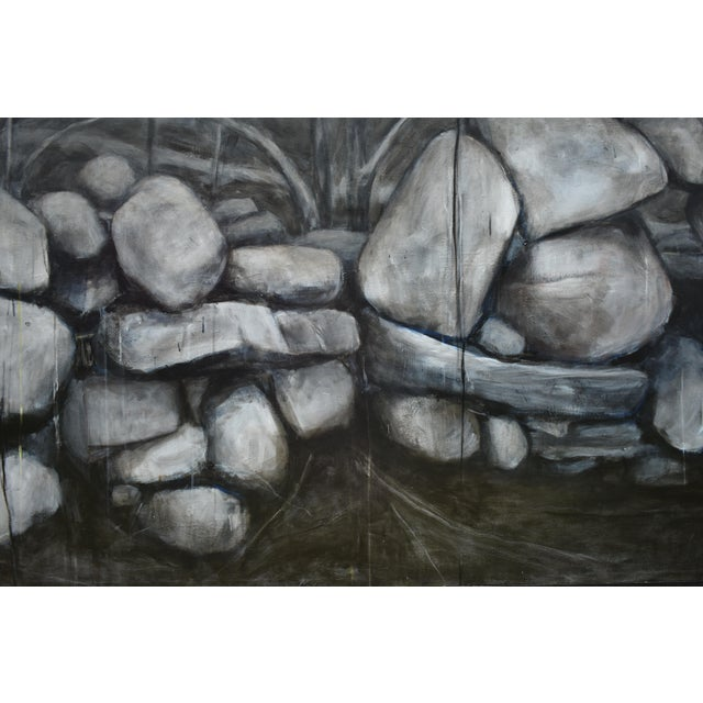 Stephen Remick Large Painting of a Stone Wall For Sale - Image 4 of 11