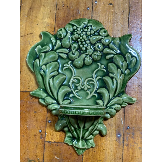 Green Majolica Fruit Wall Pockets - a Pair For Sale - Image 9 of 13