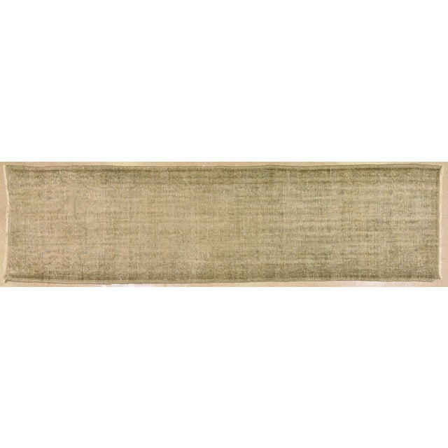 "1950s Vintage Turkish Neutral Hand Spun Wool Runner Rug - 2'11""x10'9"" For Sale - Image 5 of 5"