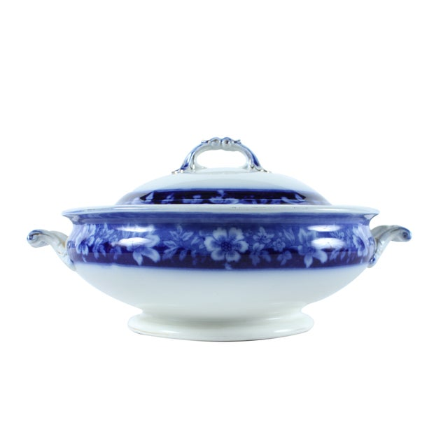 Flow Blue Turin by JB, Tureen With Lid - Image 1 of 5