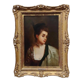 Gustave Jean Jacquet -Portrait of a Young Lady Wearing a Feather Hat - 19th Century Oil Painting For Sale