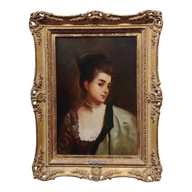 """Gustave Jean Jacquet """"Portrait of a Young Lady Wearing a Feather Hat"""" 19th Century Oil Painting For Sale"""