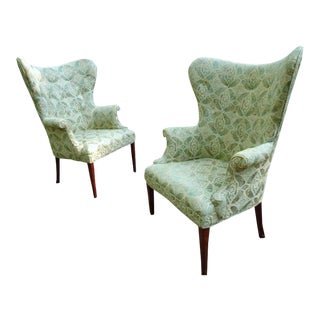 Mid Century Modern Wingback Chairs for Restoration~ a Pair For Sale