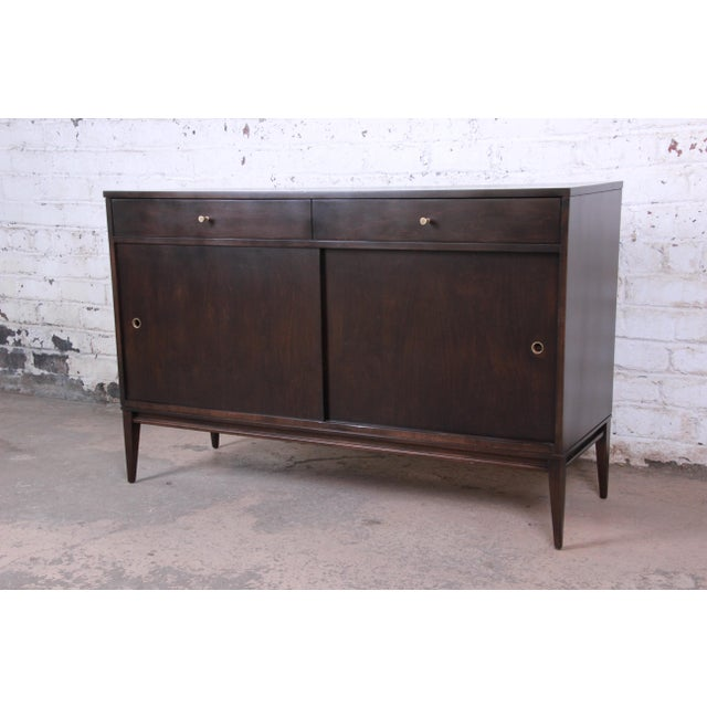 Paul McCobb Planner Group Sliding Door Sideboard Credenza or Record Cabinet For Sale - Image 13 of 13