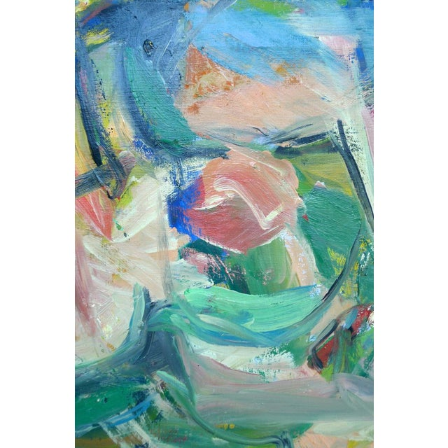 In this horizontal painting, something between landscape and flat abstraction, various hues seem to thrash violently...