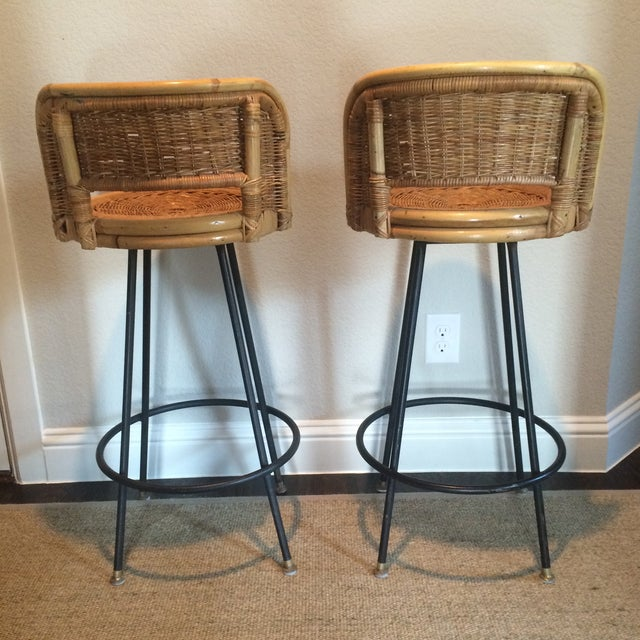 Mid-Century Modern Vintage Seng of Chicago Wicker & Iron Stools - A Pair For Sale - Image 3 of 7