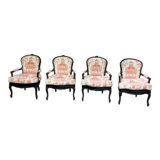Antique Chippendale Style Ebonized Chairs - Set of 4 For Sale