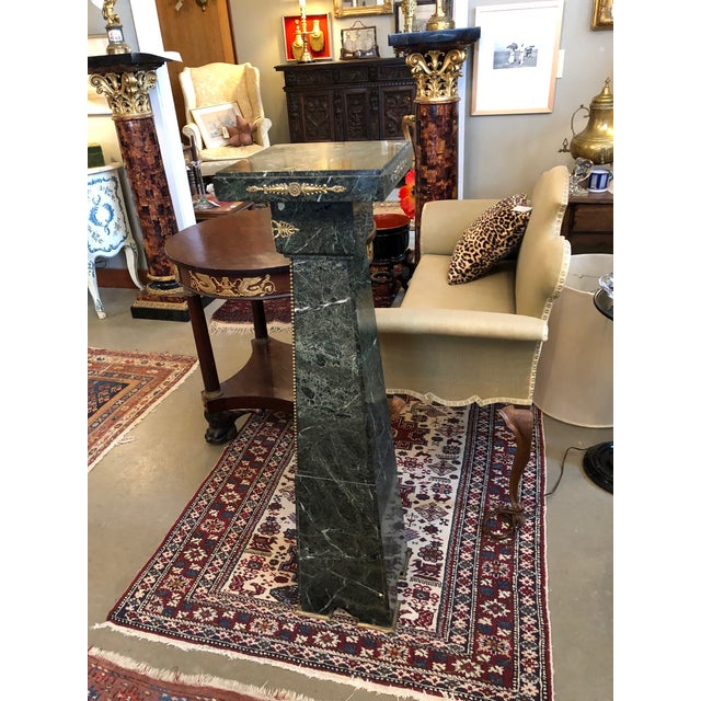 Metal 19th Century French Green Marble and Bronze Ormolu Applique Pedestal For Sale - Image 7 of 12