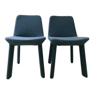 Blu Dot Marine Blue Neat Dining Chairs - a Pair For Sale