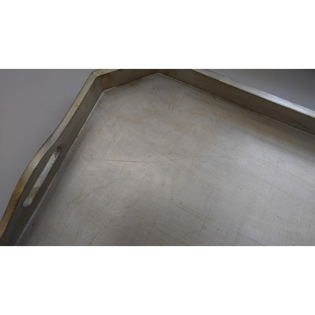 Italian Silver Leafed Wooden Tray For Sale - Image 9 of 9