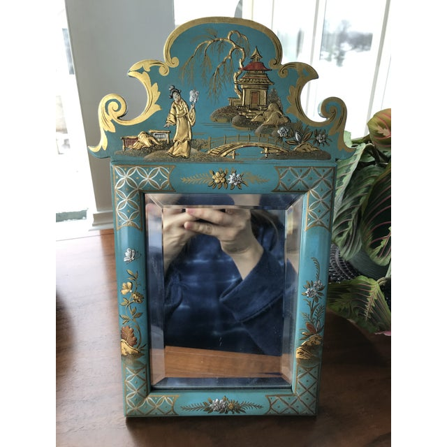 Glass 1970s Vintage Mid Century Chinoiserie Teal Lacquered Pagoda Textured Painting Dressing Mirror For Sale - Image 7 of 12