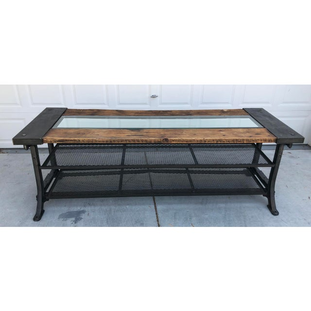 Available right now we have this gorgeous industrial modern dining table, with glass insert or middle. This table was...