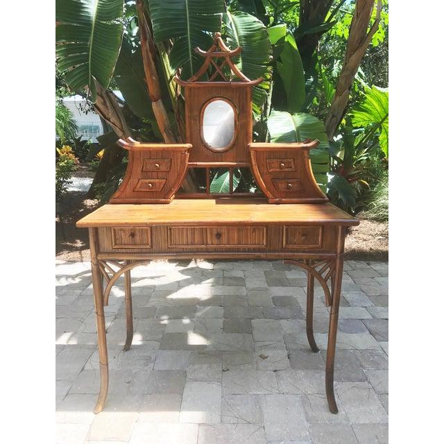 Vintage Bamboo Pagoda Vanity Table - Image 2 of 7