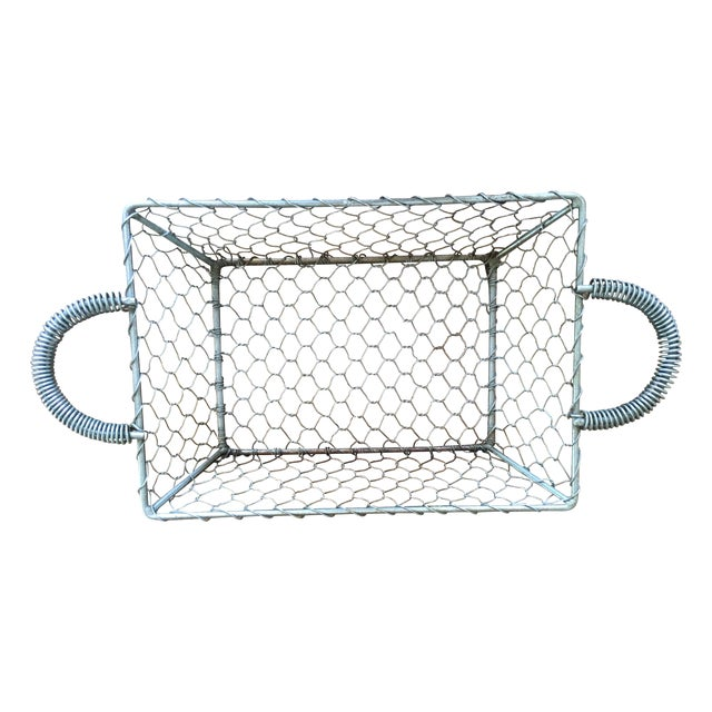 French Country Industrial Wire Tray Basket - Image 1 of 5