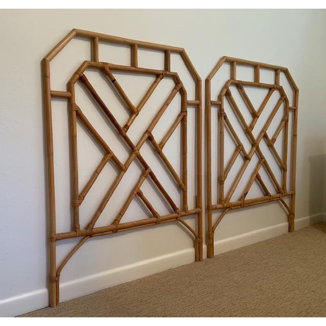 Chippendale 1960s Chippendale Style Rattan Twin Headboards - a Pair For Sale - Image 3 of 7