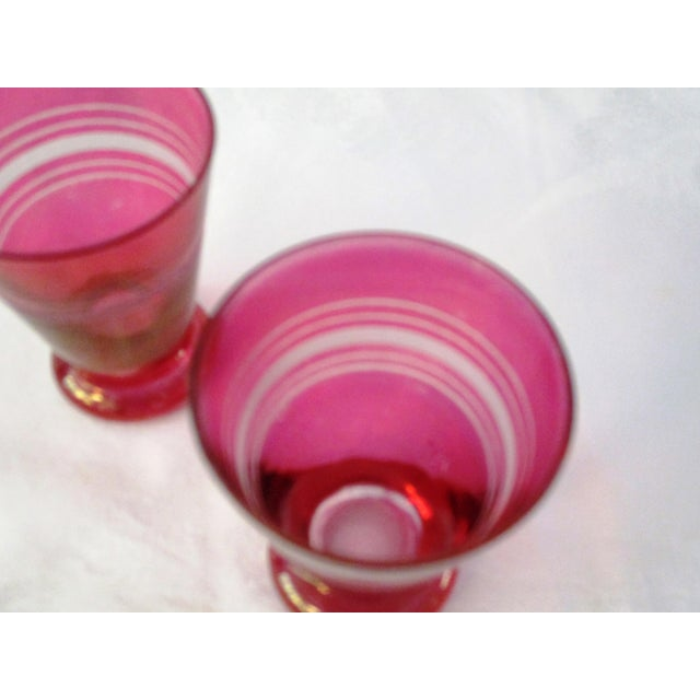 Glass Ruby Flash Glass Decanter With Glasses - Set of 7 For Sale - Image 7 of 7