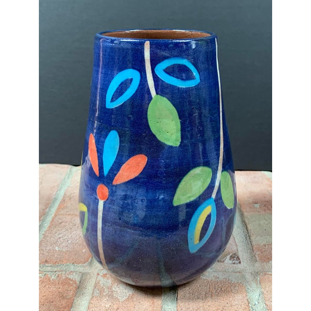 Abstract Hand Painted Terra Cotta Blue Vase With Colorful Modern Flowers For Sale - Image 3 of 10