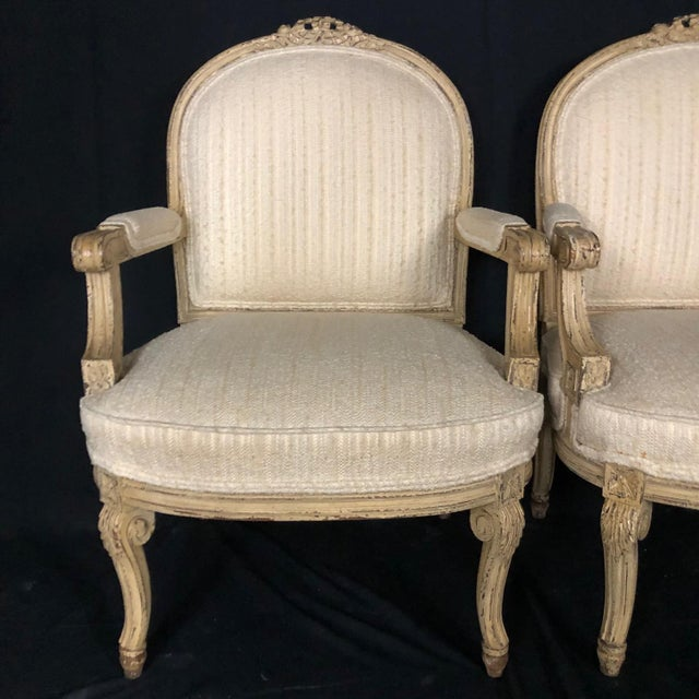 1940s Louis XIV Neoclassical Style Cream Painted French Bergere Armchairs -A Pair For Sale - Image 5 of 13