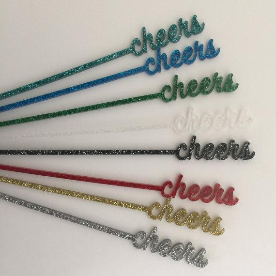Blue Glitter Cheers Drink Stirrers - Set of 6 - Image 3 of 8