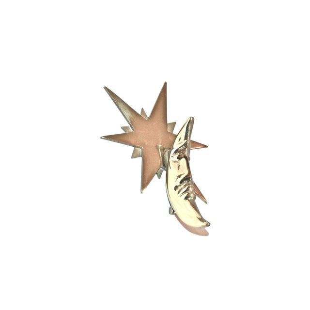Moon and Star Healy Brass Door Knocker For Sale
