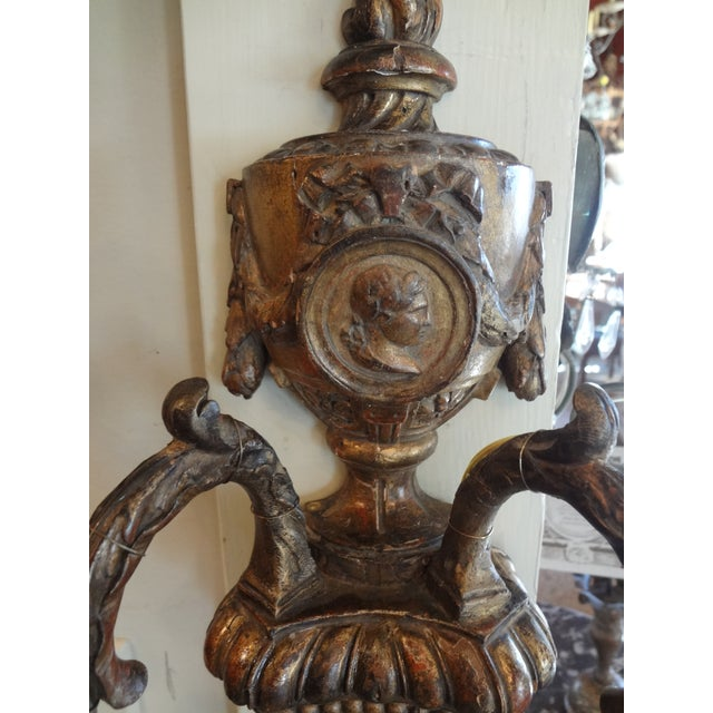 Louis XVI Style Pair of Gilt Wood Sconces For Sale - Image 4 of 11