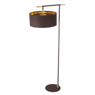 Balance Brown/Polished Brass Floor Lamp For Sale