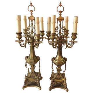 Bronze Renaissance Revival Candleabra Lamps - a Pair