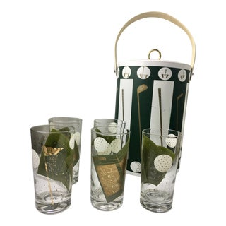 Mid-Century Golf Motif Ice Bucket & Glasses - 6 Pieces