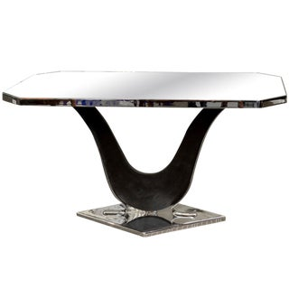 French Modernist Nickel Plated and Mirrored Side Table Attributed to Jacques Adnet For Sale