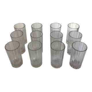 Mid Century Crisal Paneled Highball Glasses - Set of 12 For Sale