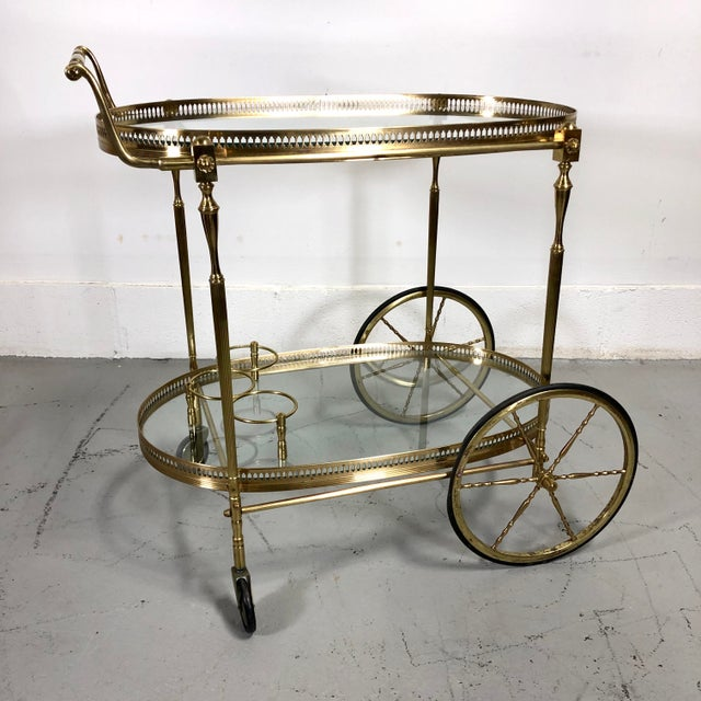 French Vintage Maison Jansen Style Brass Bar Cart / Trolley For Sale - Image 3 of 13