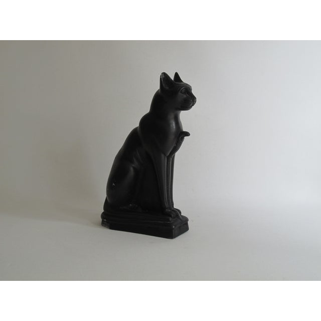 Egyptian Black Cat Carved Stone Sculpture - Image 6 of 10