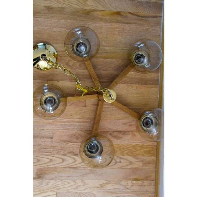 Gold Mid Century 5 Arm Wood and Brass Chandelier With Globe Bulbs For Sale - Image 8 of 11