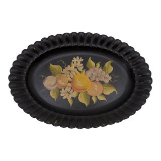 Black Tole Tray Scalloped Oval Handpainted For Sale