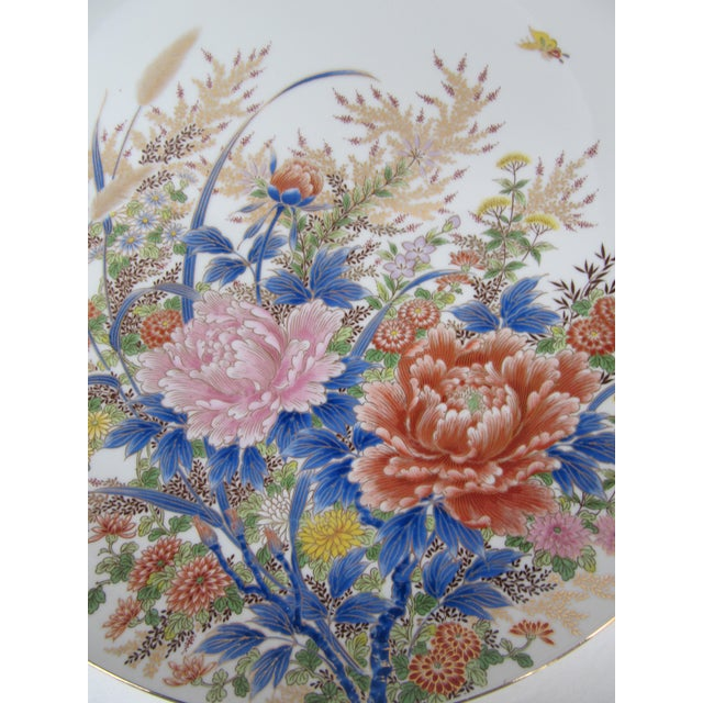 Asian Chinoiserie Flower Plate For Sale - Image 3 of 6
