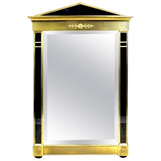 Mastercraft Modern Empire Style Brass and Black Lucite Mirror For Sale