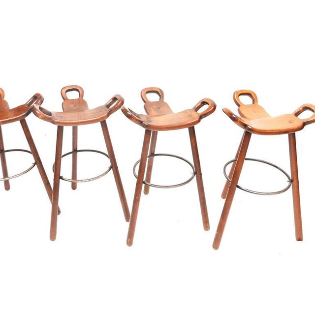 Mid-Century Modern Set of Four Carl Malmsten Bar Stools For Sale - Image 3 of 7