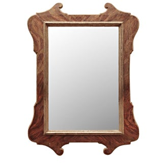 19th Century Antique Italian Tuscan Mirror Faux Marble Painted Frame For Sale
