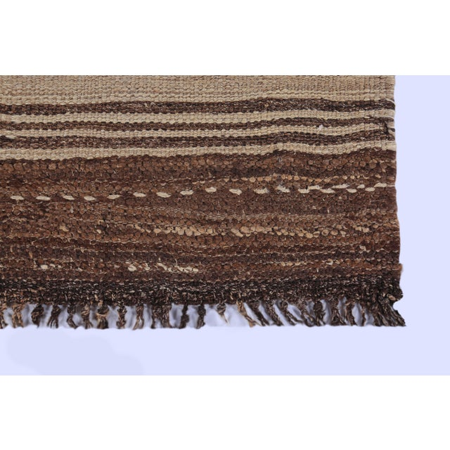 Contemporary Turkish Kilim Rug With Brown Stripes on Beige Field For Sale - Image 3 of 8