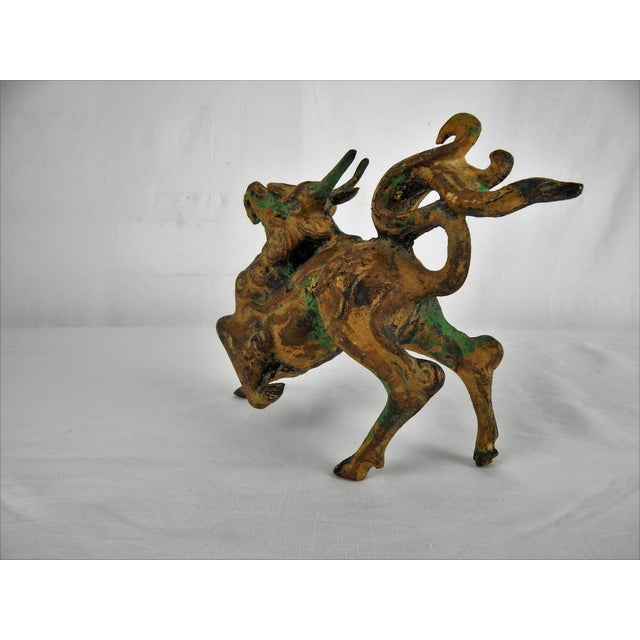 Mid 20th Century Asian Metal Prancing Horse Figure For Sale - Image 5 of 9