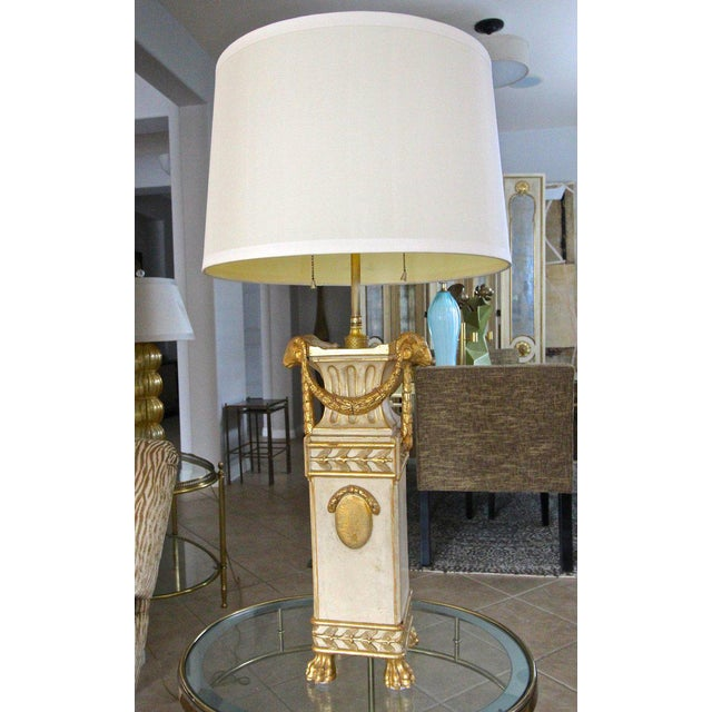 French Gilt Wood Rams Head Paw Feet Table Lamp For Sale - Image 12 of 13