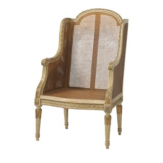 French Louis XVI Style Bergère Chair or Wingback For Sale
